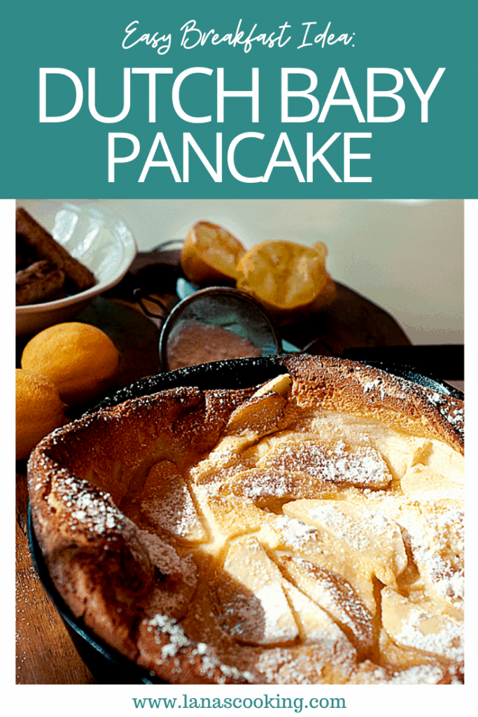 A light fluffy Dutch baby is simply a big pancake cooked in the oven! Topped with lemon juice and powdered sugar, this breakfast treat is delicious. From @NevrEnoughThyme https://www.lanascooking.com/dutch-baby/