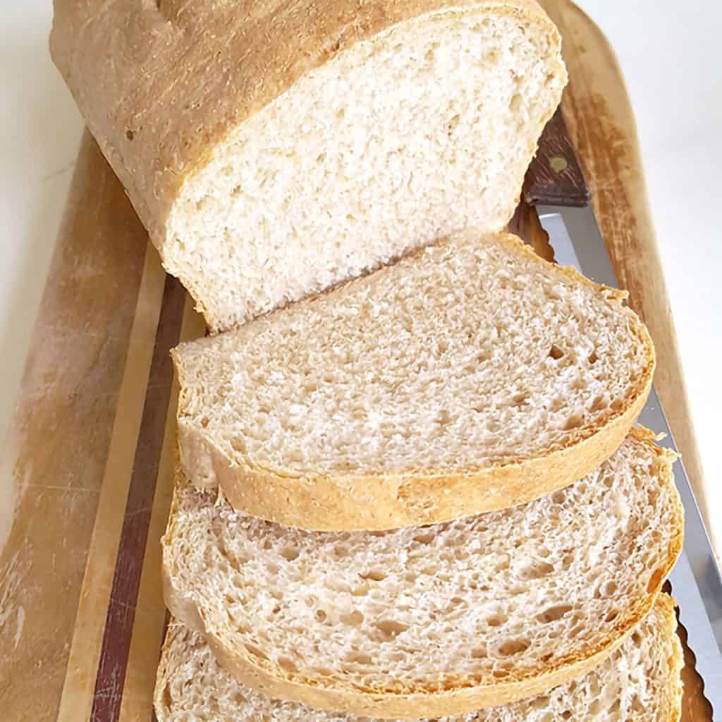 My Easy Homemade Bread Recipe can be made with all unbleached bread flour for a traditional white loaf or a mixture of white and whole wheat. https://www.lanascooking.com/easy-homemade-bread-recipe/