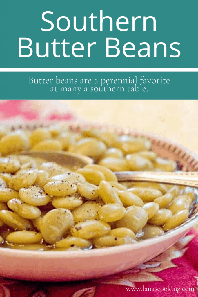 Southern Butter Beans cooked in the slow cooker. Serve with fried chicken, fried okra, and cornbread for a very traditional southern dinner. https://www.lanascooking.com/southern-butter-beans/