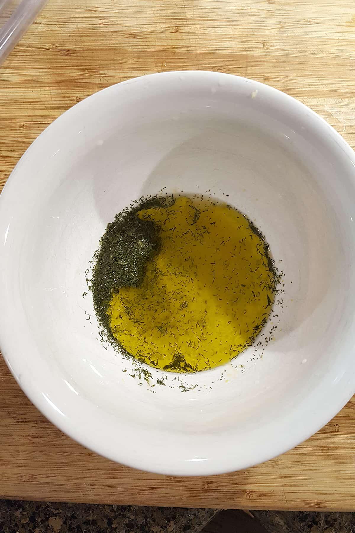 Mixing the dressing for Lemon Dill Potato Salad