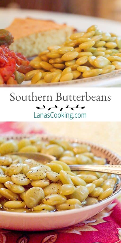 Southern Butter Beans cooked in the slow cooker. Serve with fried chicken, fried okra, and cornbread for a very traditional southern dinner. From @NevrEnoughThyme https://www.lanascooking.com/southern-butter-beans/