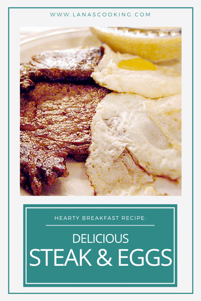 Serve steak and eggs for a hearty weekend breakfast - thinly cut, seasoned steaks sauteed and served with over-easy eggs and a side of cheese grits. From @NevrEnoughThyme https://www.lanascooking.com/steak-and-eggs/
