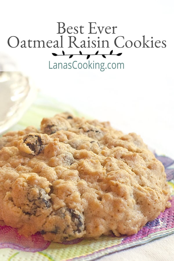 Best Ever Oatmeal Raisin Cookies Post Pin Image