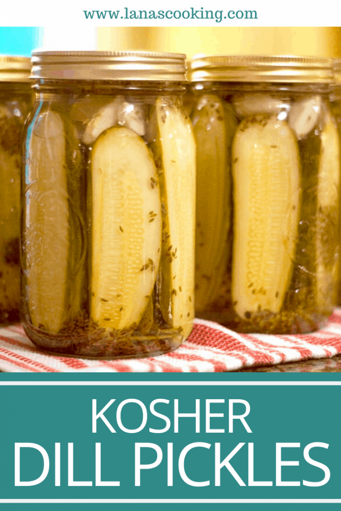Our family's Favorite Kosher Dill Pickles - Homemade with fresh cucumbers, dill, and garlic. Tested and approved safe canning recipe for shelf stable storage. From @NevrEnoughThyme https://www.lanascooking.com/favorite-kosher-dills/