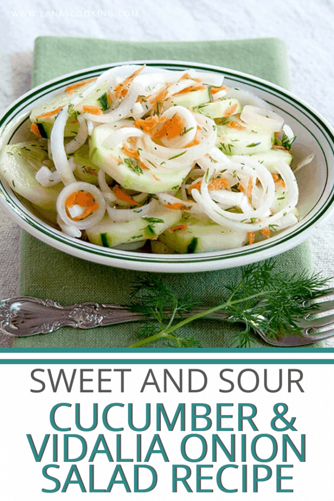 Sweet and Sour Cucumber and Vidalia Onion Salad - This cucumber and Vidalia onion salad is light, refreshing, and perfect for springtime. From @NevrEnoughThyme https://www.lanascooking.com/sweet-and-sour-cucumber-and-vidalia-onion-salad/
