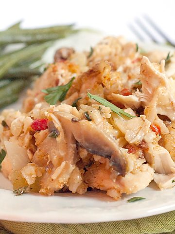 Chicken and Mushroom Casserole - A lighter chicken casserole with mushrooms, brown rice, celery, and almonds. https://www.lanascooking.com/chicken-and-mushroom-casserole/
