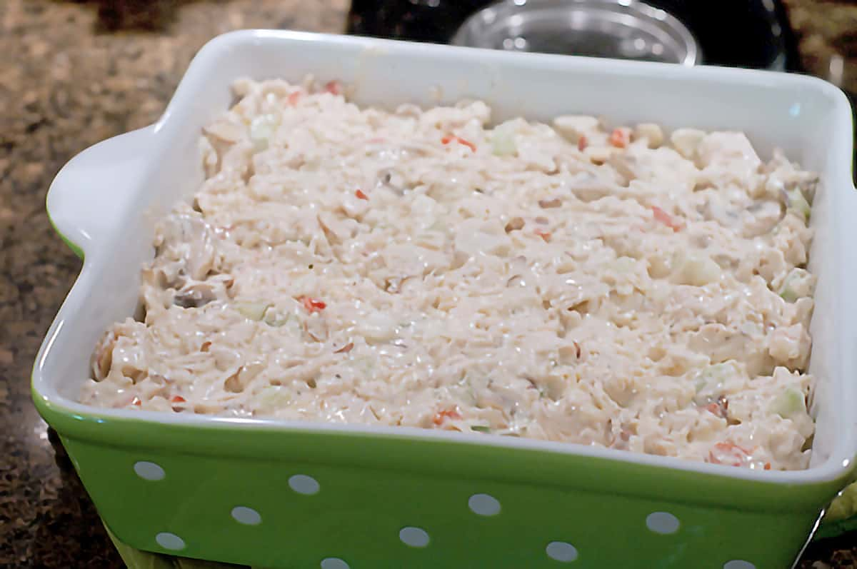 Casserole mixed and added into a casserole dish