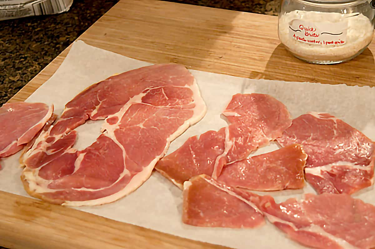 Ham slices after milk soak drying on paper towels