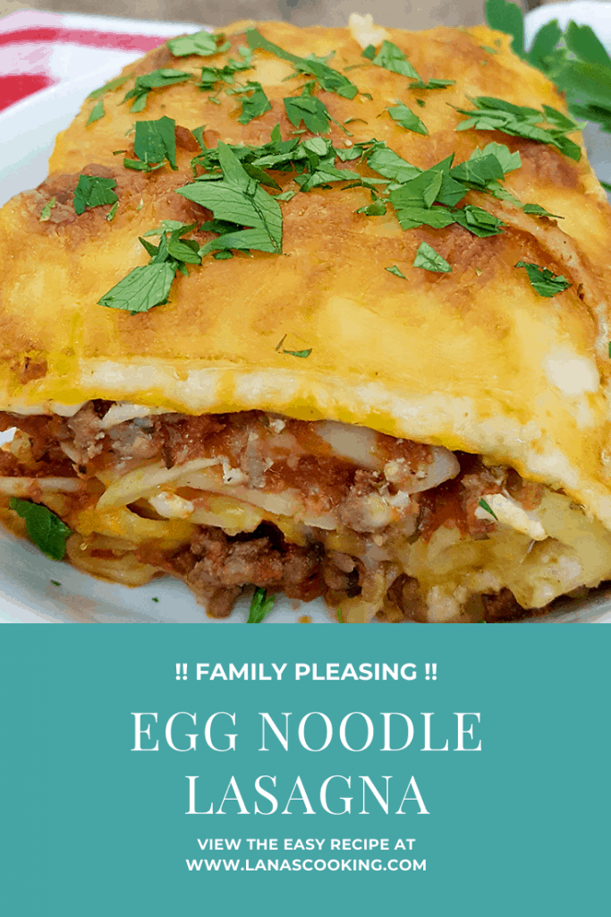 My Egg Noodle Lasagna recipe is a real family pleaser with layers and layers of meat sauce, cheesy filling, and egg noodles. From @NevrEnoughThyme https://www.lanascooking.com/egg-noodle-lasagna/