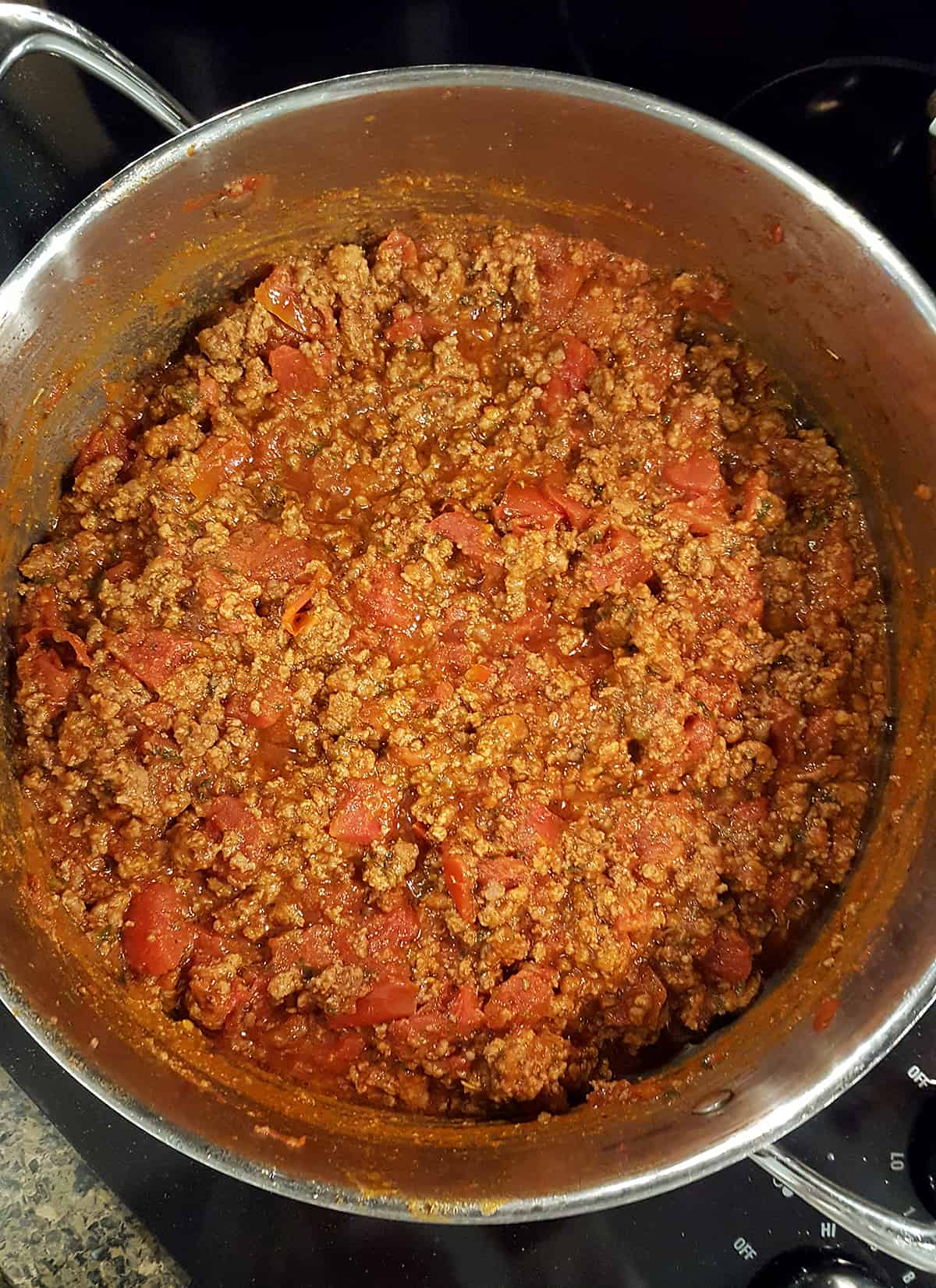 Pan with cooked meat sauce to be used in the Egg Noodle Lasagna