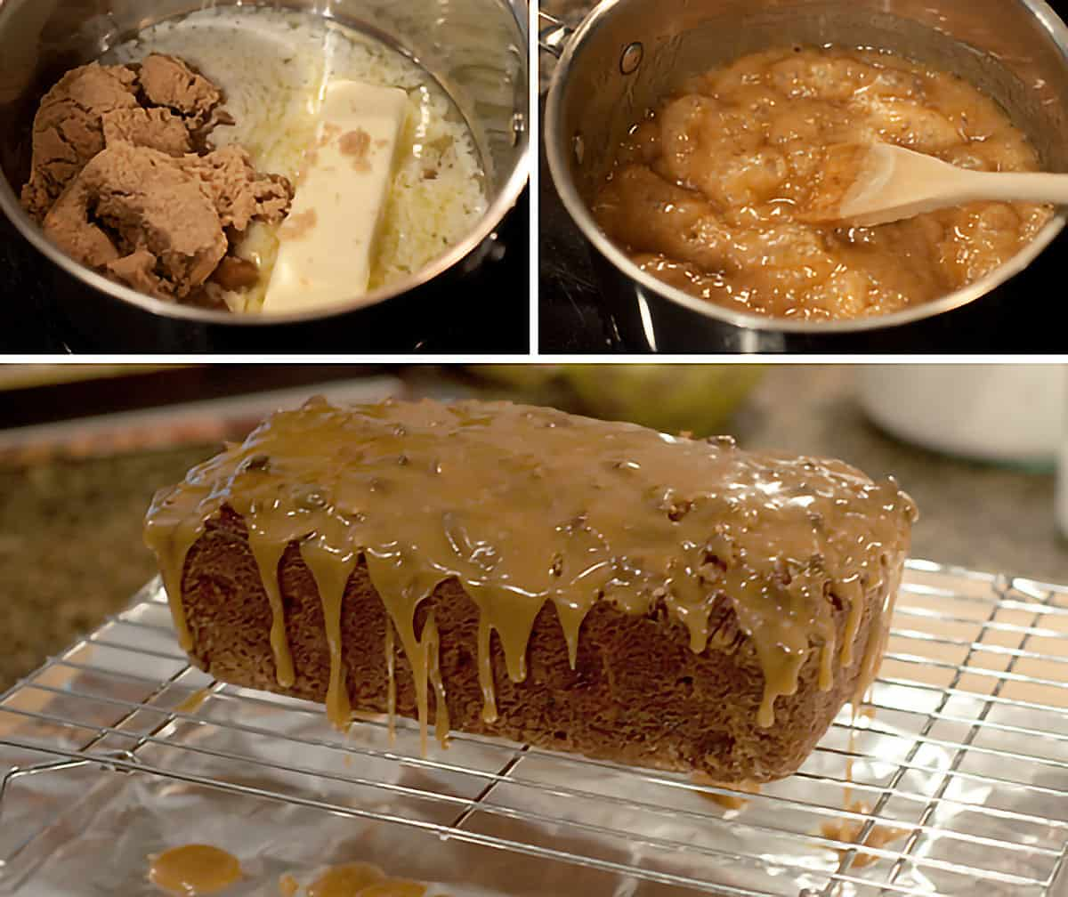 Collage showing the praline topping being cooked and poured over the finished apple bread.