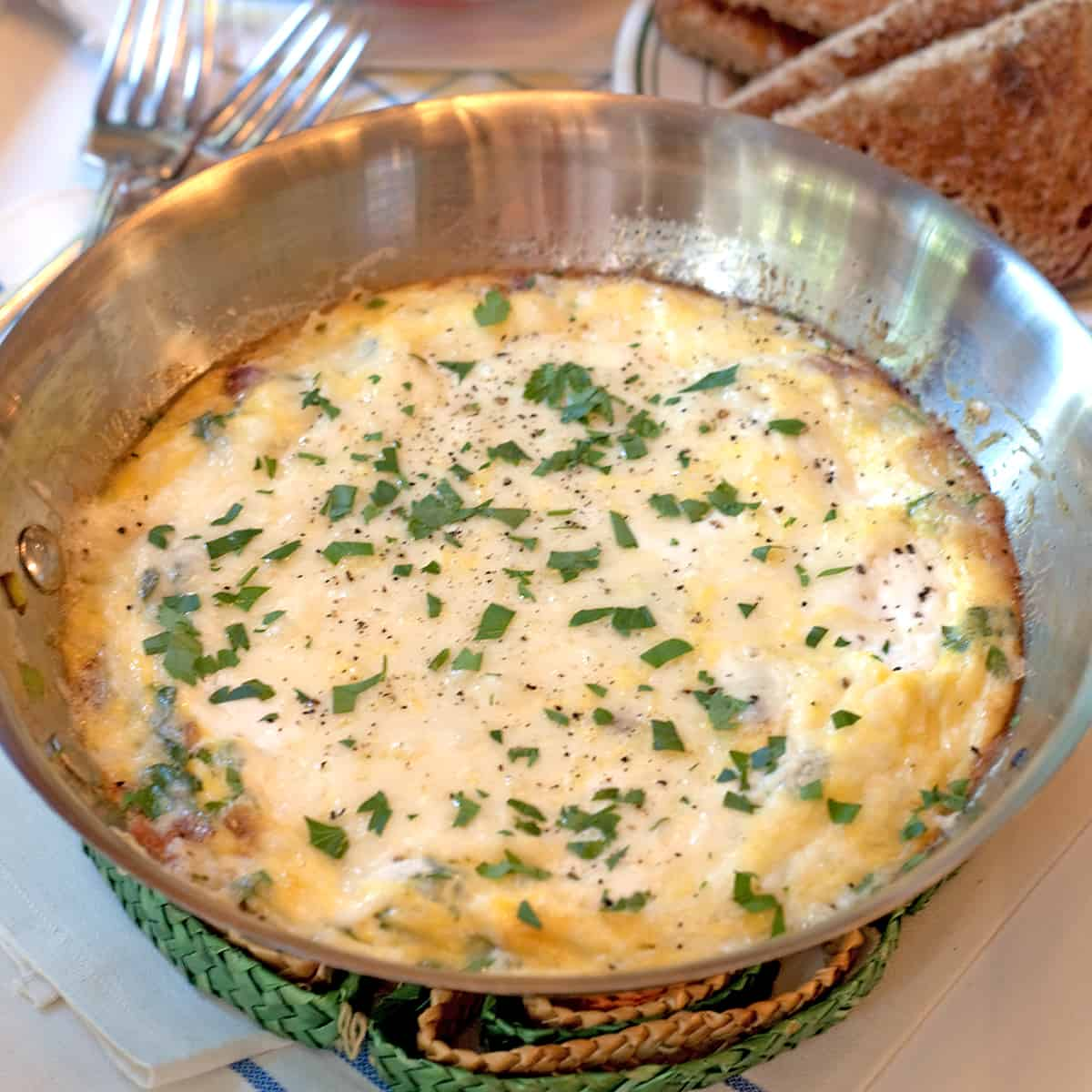 Bacon Cheese Frittata in a skillet