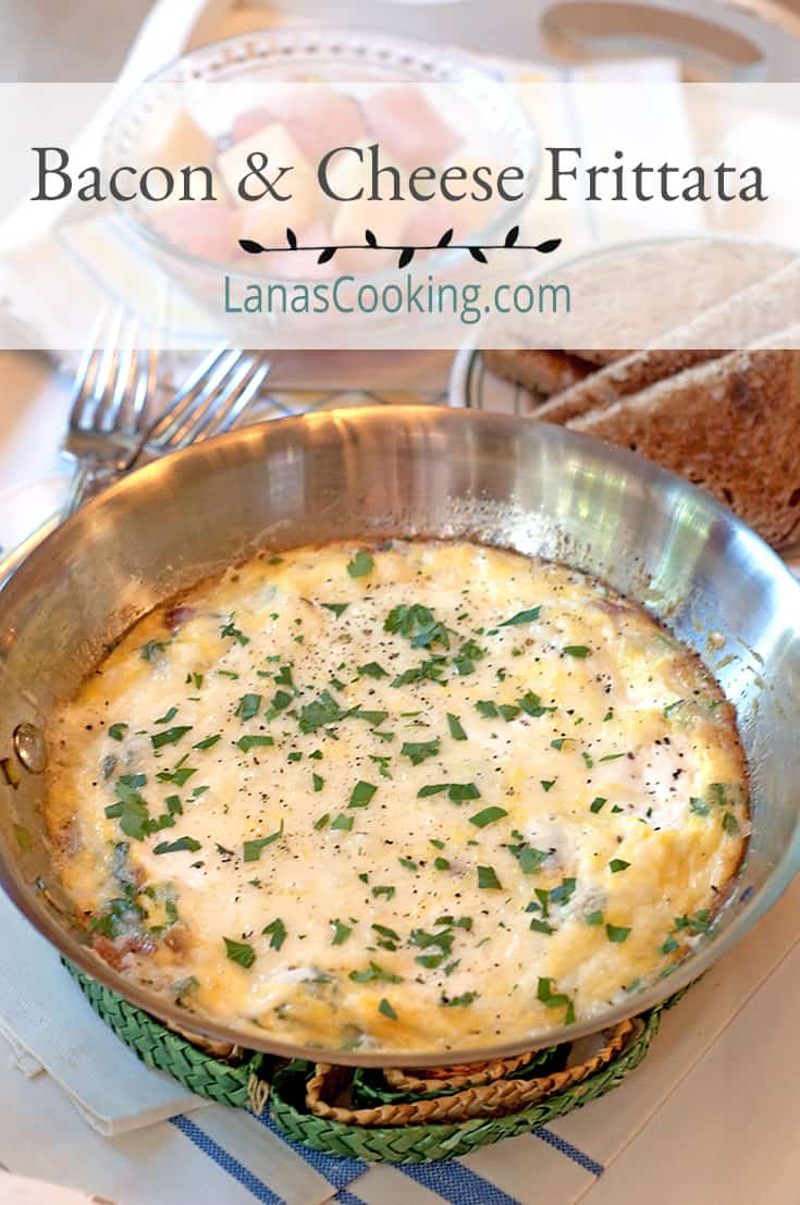 Bacon Cheese Frittata in a skillet. Text Overlay: Bacon & Cheese Frittata