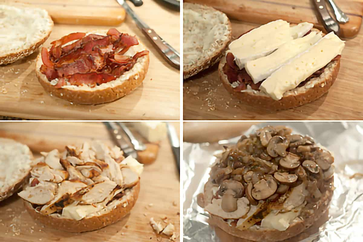 Photo collage showing assembly of the sandwich; top to bottom, left to right: Add the bacon, add slices of brie, add the sliced chicken, top with the caramelized onions and mushroom