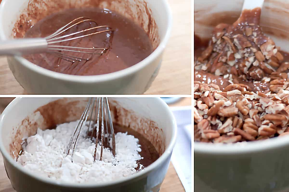Photo collage illustrating steps for mixing the batter; top-left, chocolate batter mixture in mixing bowl with whisk; bottom-left, powdered sugar being added to batter in mixing bowl; right, pecans being added to batter