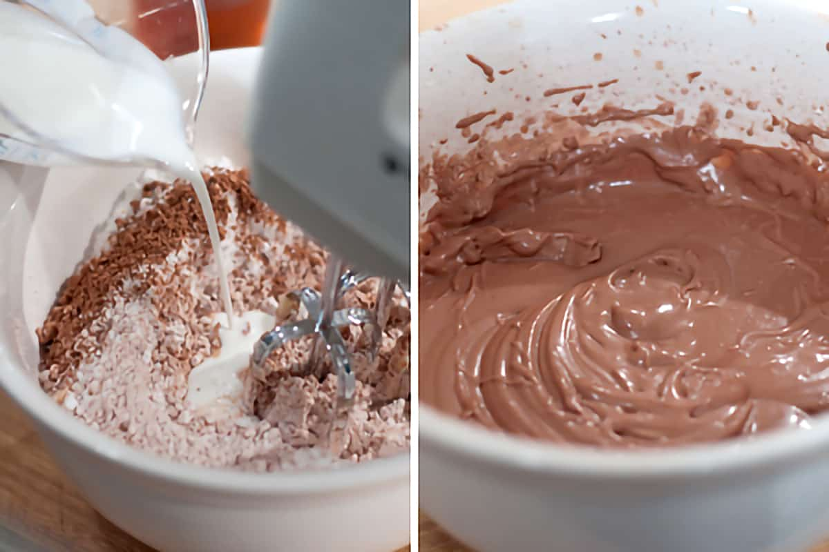 Frosting ingredients being combined in a mixing bowl
