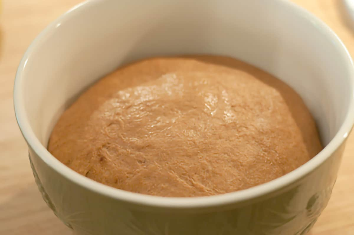 Dough doubled in size inside mixing bowl