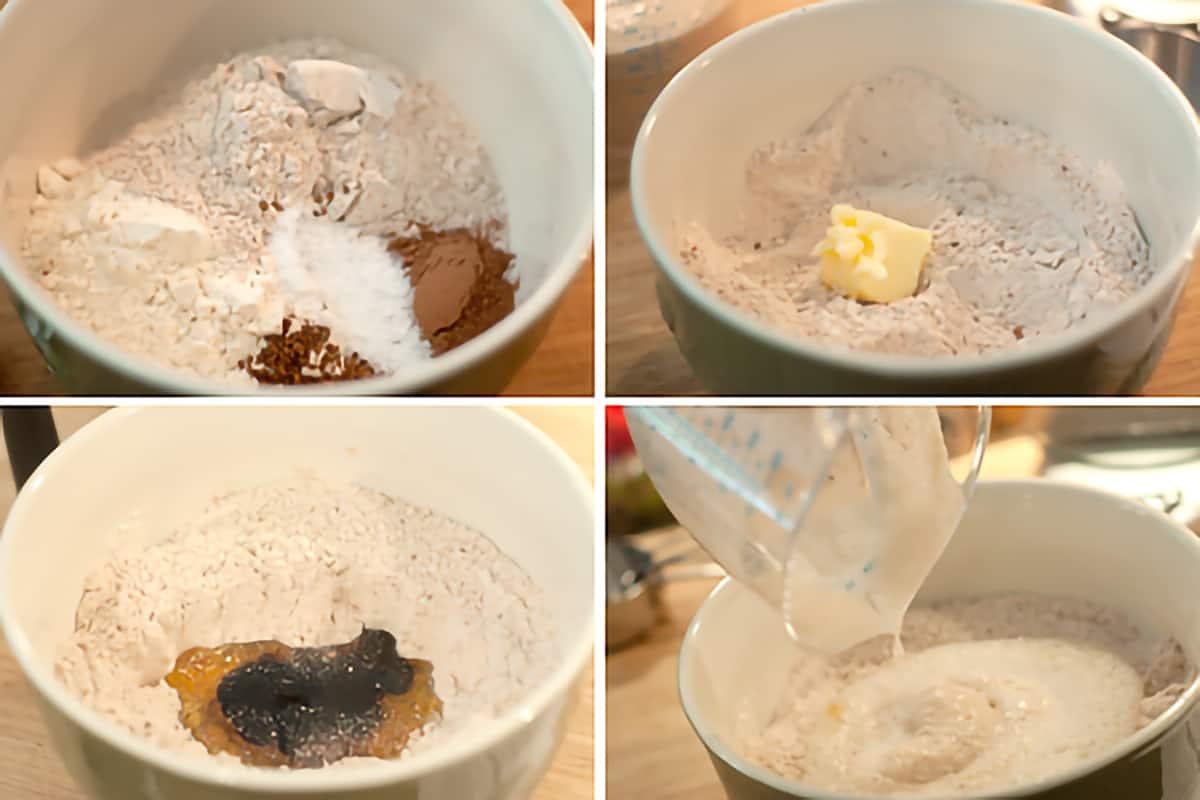 Collage illustrating mixing of ingredients