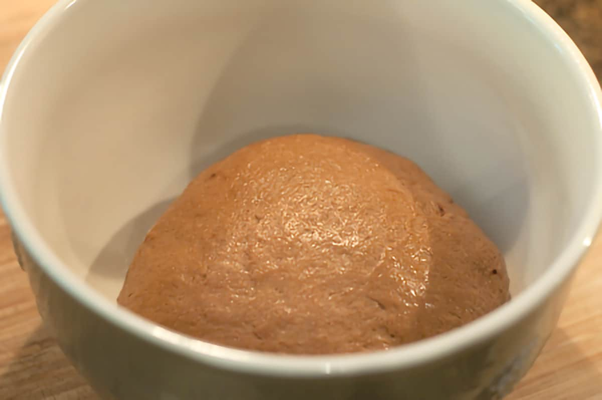 Kneaded dough resting in a mixing bowl