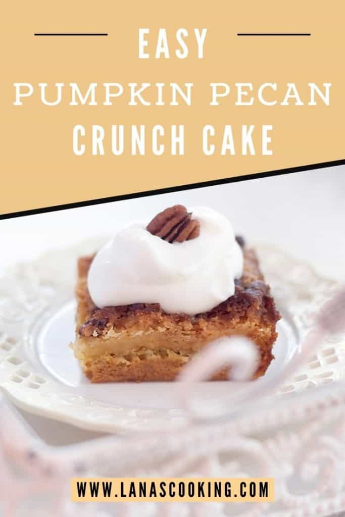 A slice of pumpkin crunch cake on a white serving plate with text overlay for pinning.