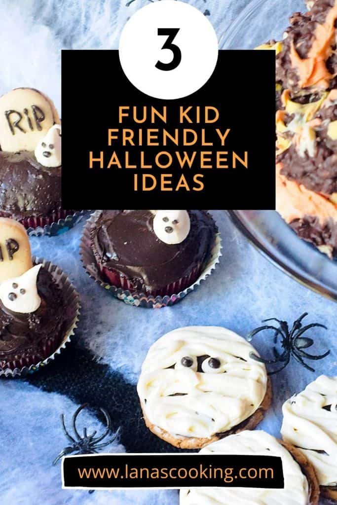 Halloween treats on a spiderweb background with text overlay for pinning