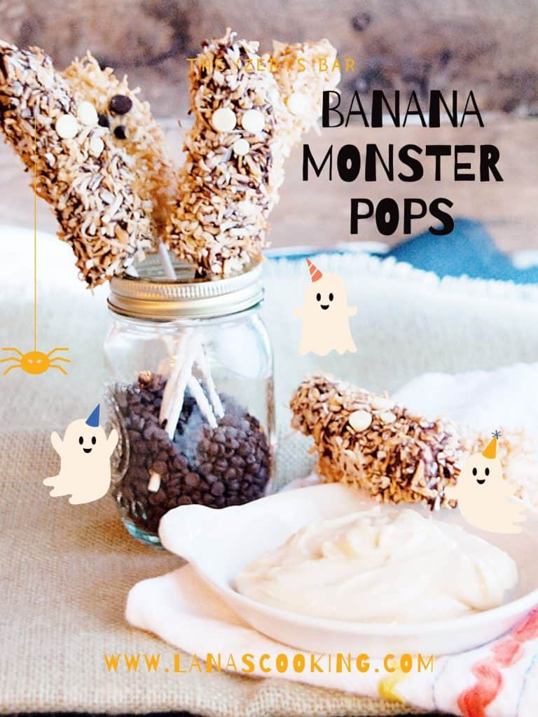 Banana Pops in a jar with a dish of cream cheese dip. Text overlay for pinning.