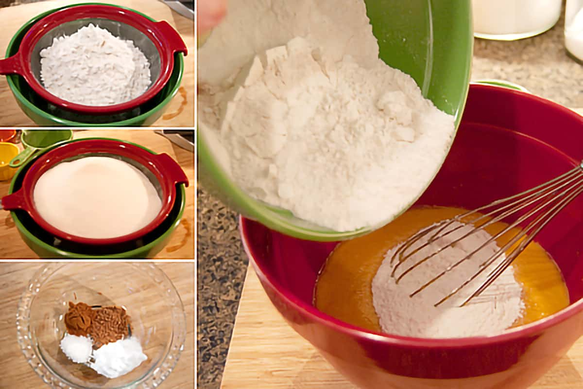 Photo collage showing wet ingredients being sifted and then added to wet ingredients.