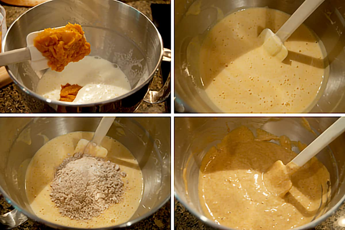 Photo collage showing the mixing of the wet and dry ingredients and the additional of the pumpkin puree.