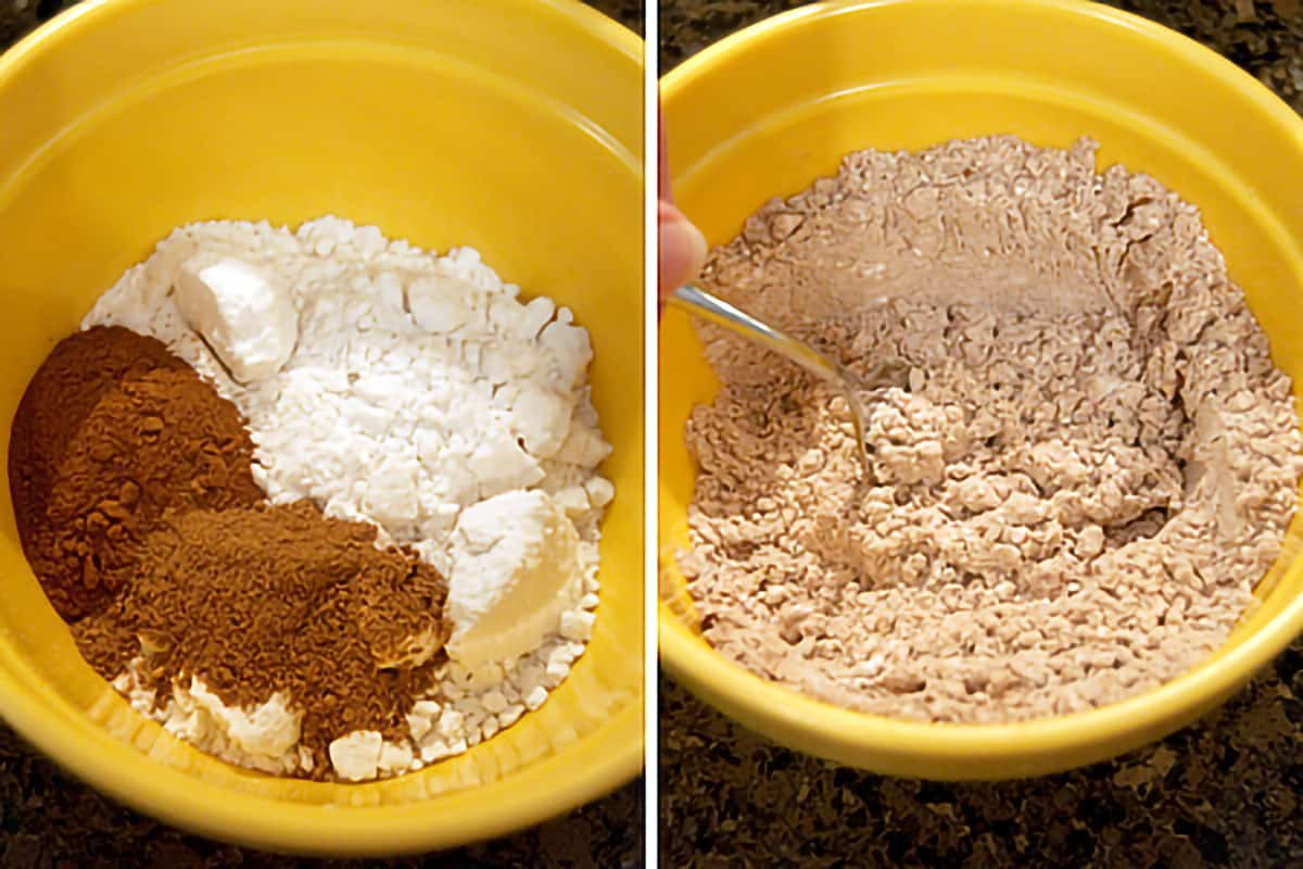 Mixing bowl holding dry ingredients for cake batter.