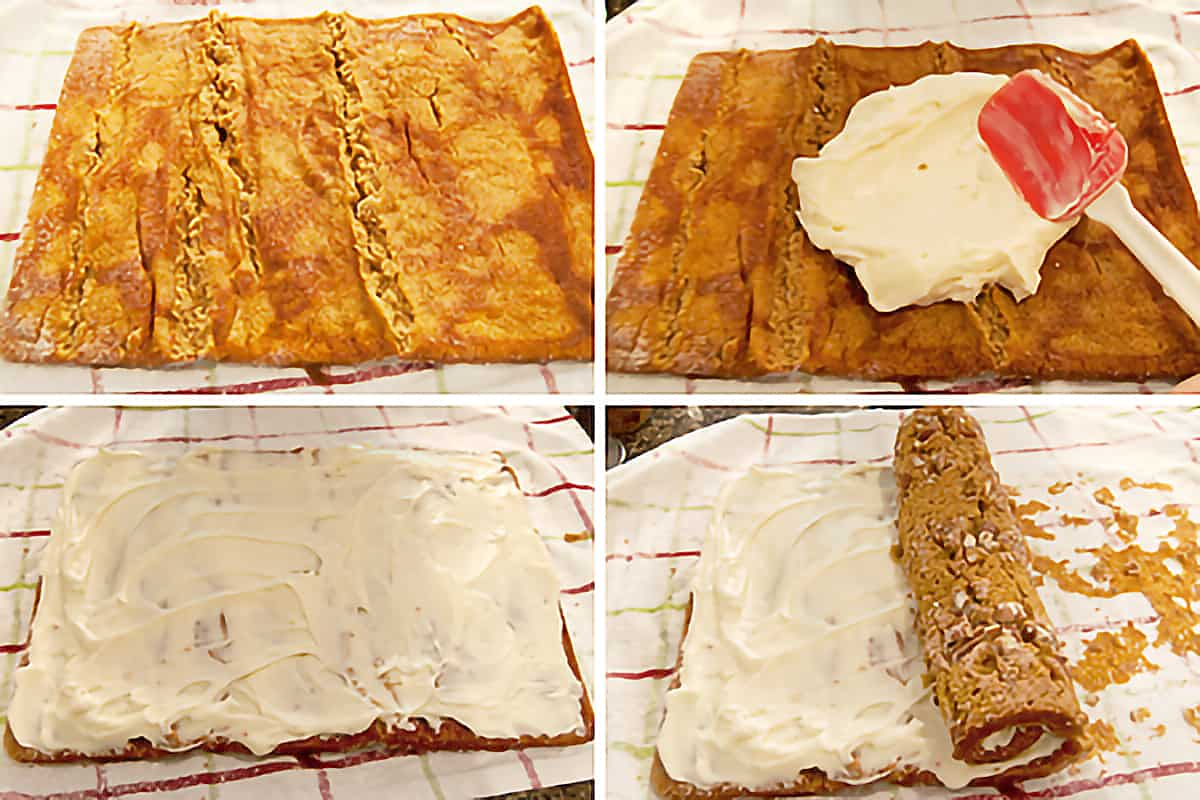 Photo collage showing the cooled cake being filled with sweetened cream cheese and re-rolled.