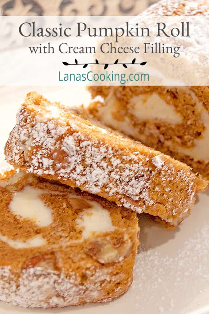 Slices of pumpkin roll on a serving tray with text overlay for pinning.
