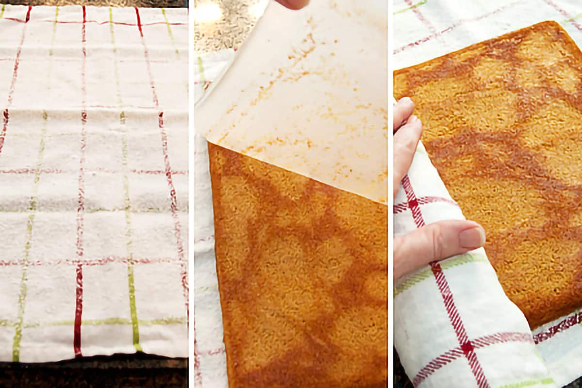 Photo collage illustrating how to roll the warm cake in a tea towel.