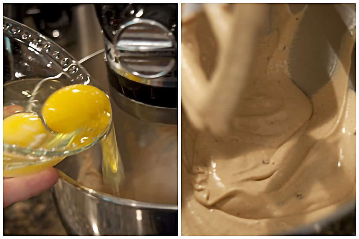 Left: Eggs being dropped into the running mixer; Right: Batter after adding eggs