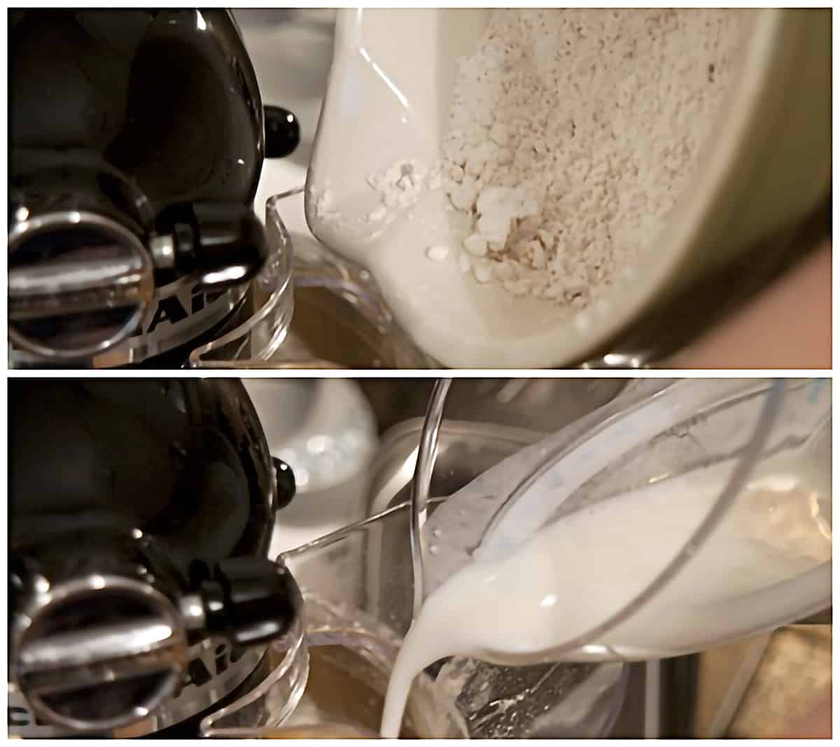 Top: Flour being added to the running mixer; Bottom: Buttermilk being added to the running mixer