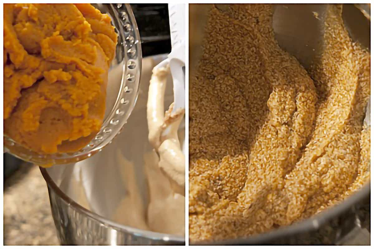 Left: Pumpkin puree being added to the batter; Right: Appearance of batter after adding pumpkin puree