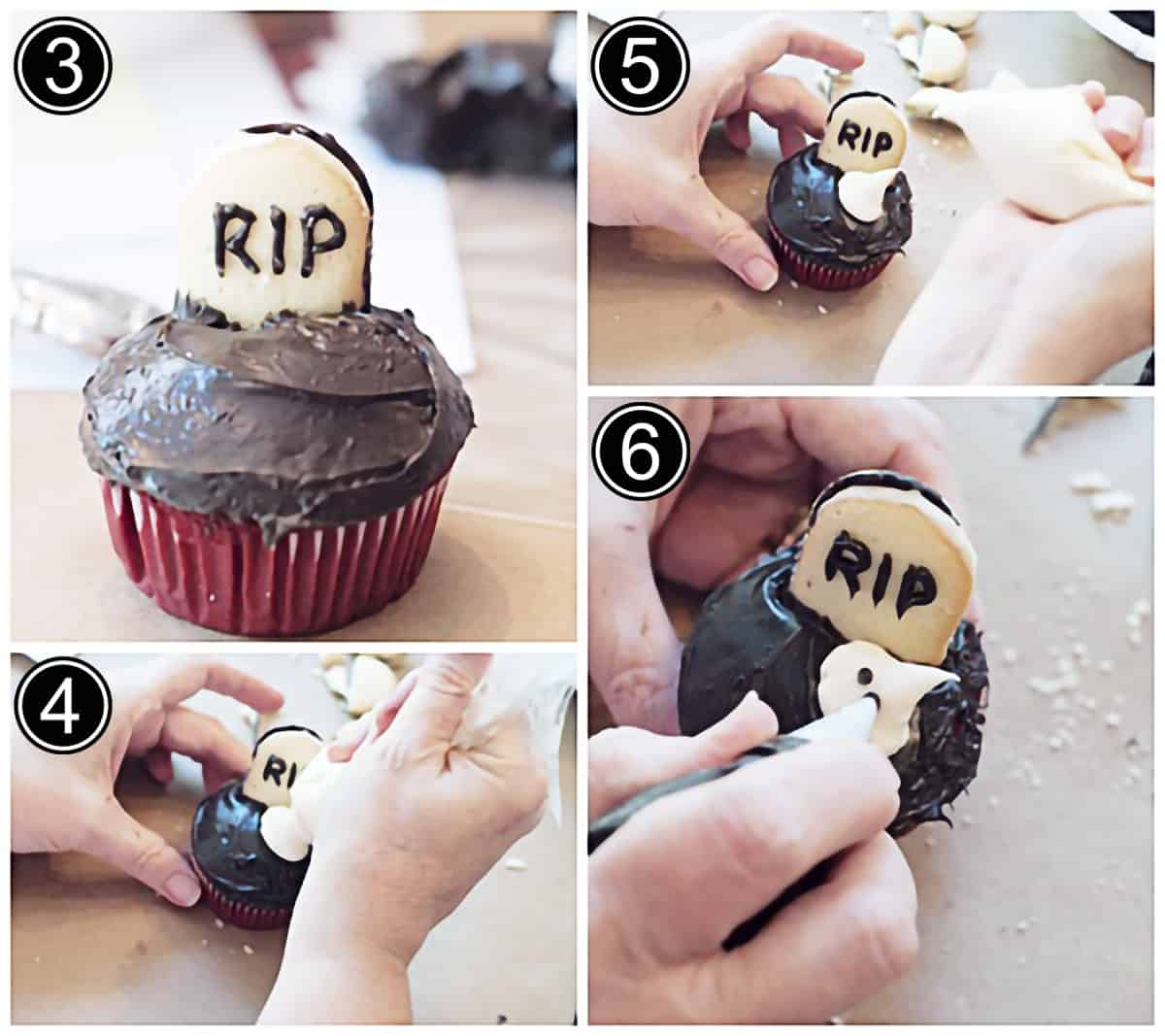 """Photo collage showing the """"tombstone"""" cookies added to cupcakes and ghosts piped onto each."""