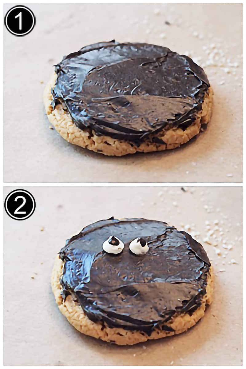 Photo collage with steps 1 and 2 of making mummy cookies