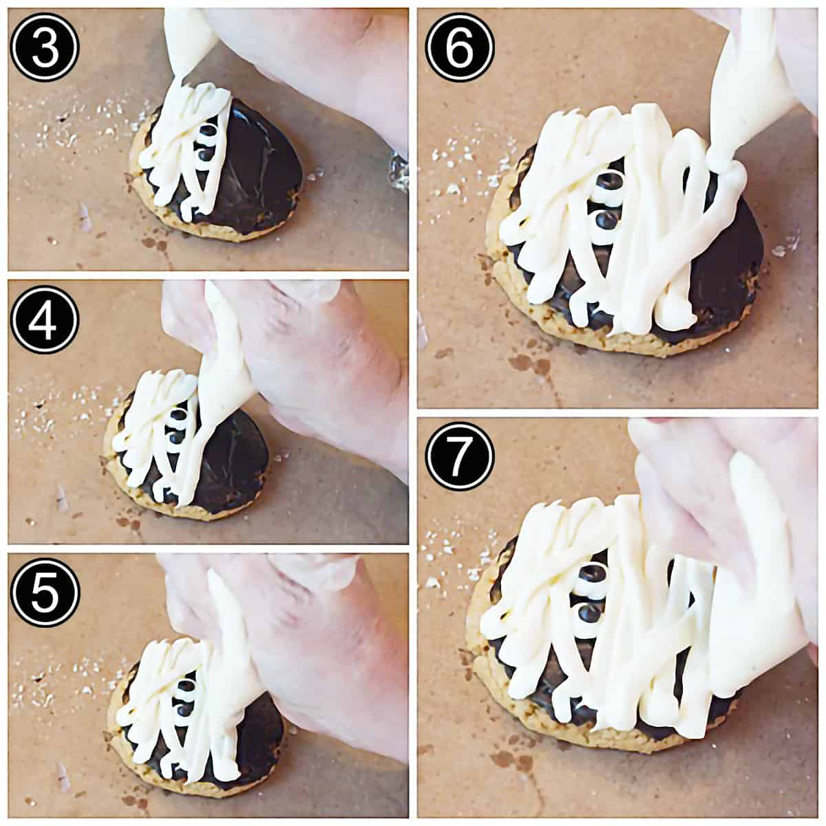Photo collage showing steps 3-7 of piping the mummy's wrappings onto the mummy cookies.