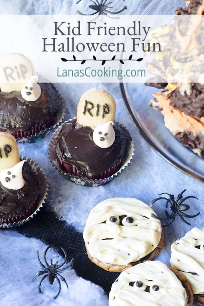 Ghosts in the Graveyard cupcakes, Mummy Cookies, and Candy Corn Bark on a spiderweb background; text overlay: Kid Friendly Halloween Fun