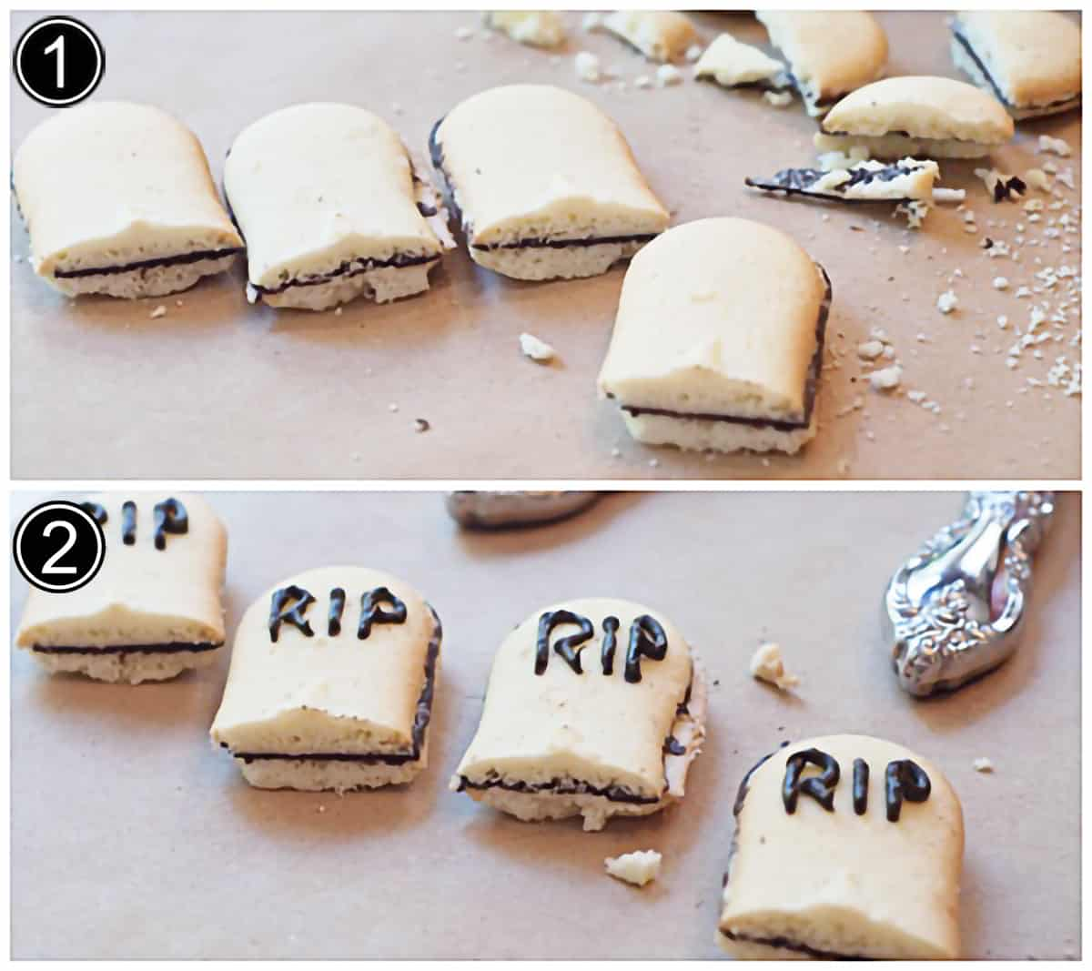 """Photo collage showing cut cookies on top and with """"RIP"""" piped onto each on the bottom."""