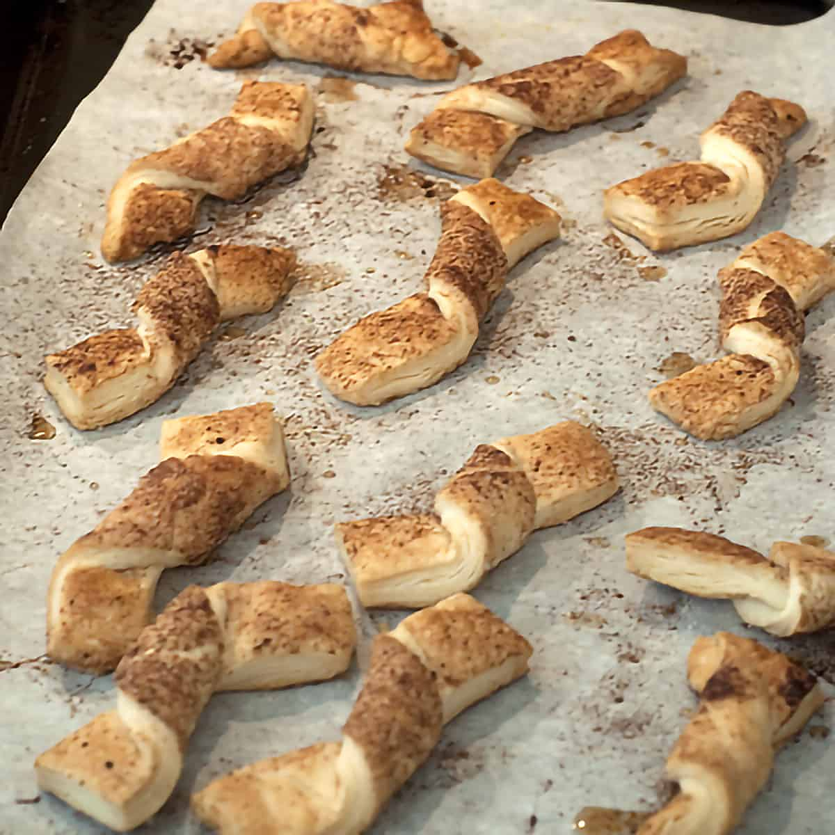 Pie crust cinnamon twists after baking.