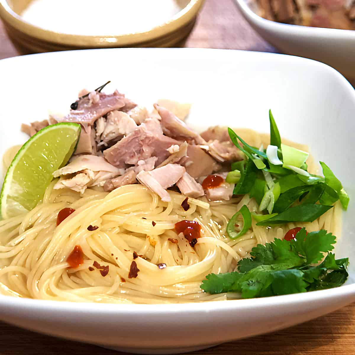 Noodles, turkey, and accompaniments in a white serving bowl.