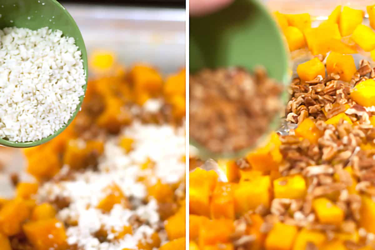 Photo collage showing blue cheese and pecans being added to the roasted butternut squash cubes.