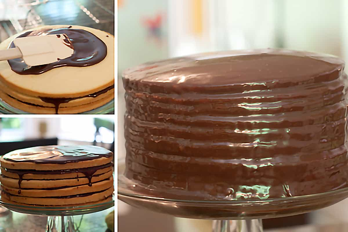 Photo collage showing assembly of the cake layers and icing.