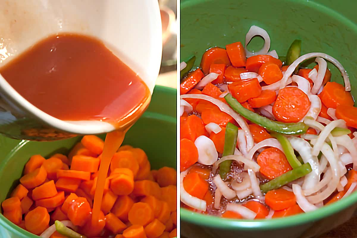 Pouring the marinade mixture over the vegetables in a medium mixing bowl.
