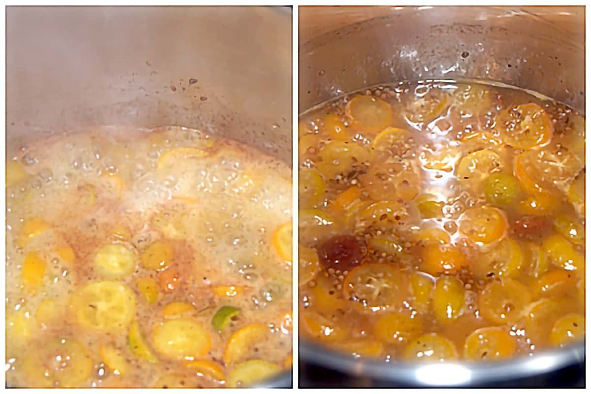 Photo collage showing the appearance of the mixture at the beginning and ending of cooking.