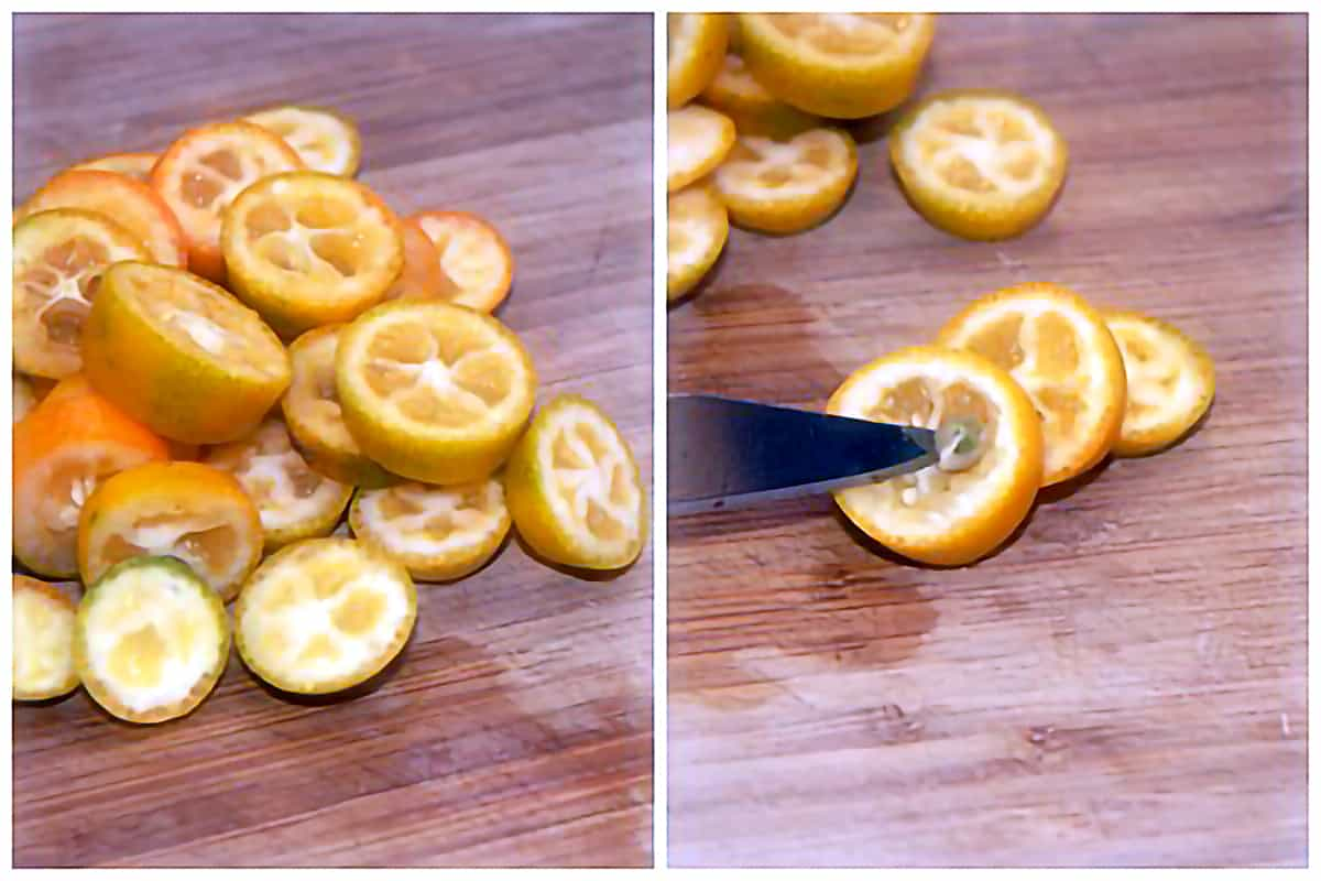 Photo collage showing kumquats being sliced and deseeded.