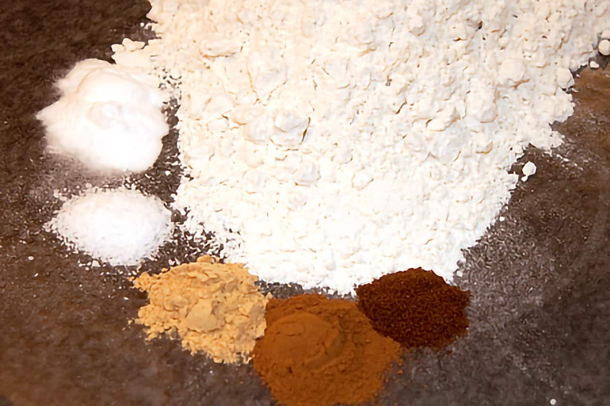 Dry ingredients in a small bowl.