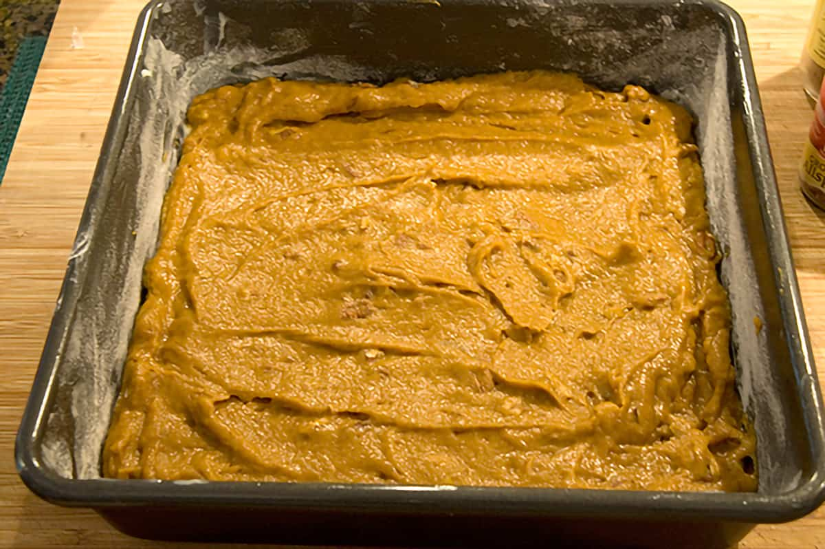 Batter spread into a baking pan.