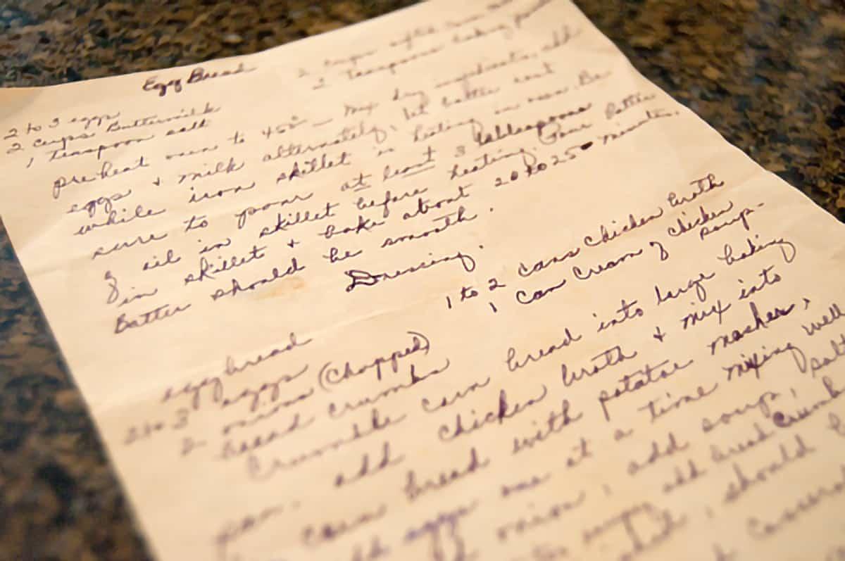 Handwritten recipe page